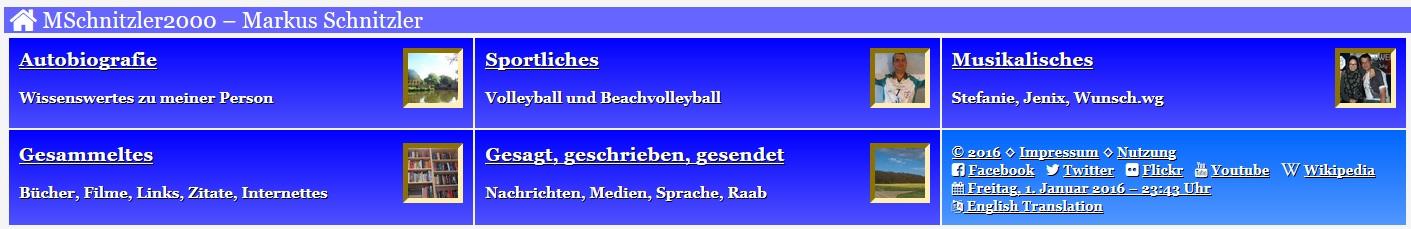 Menü der Website MSchnitzler2000